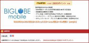 BIGLOBEモバイルで使えるベネフィットステーション限定クーポン情報!【sample】